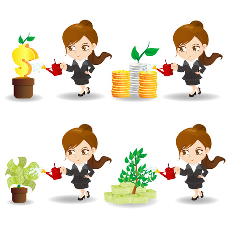 cartoon illustration set of Business woman with financial money tree, business concept