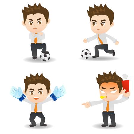 cartoon illustration set of Business man competitive, soccer game