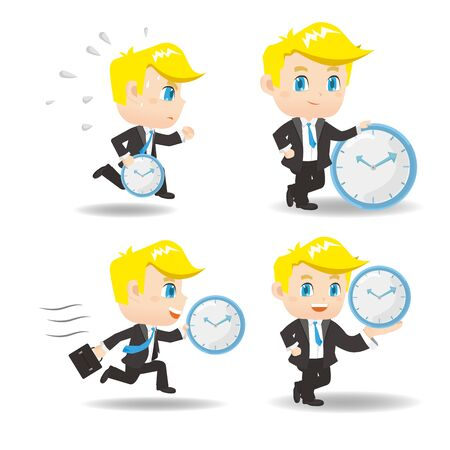cartoon illustration set of Success and excited Business man hold clock Illustration