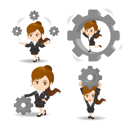 ingeniero caricatura: ilustración de dibujos animados conjunto de engranajes asimiento de la mujer de negocios