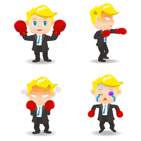 dissatisfied: cartoon illustration set of Business man boxing, caucasian Illustration