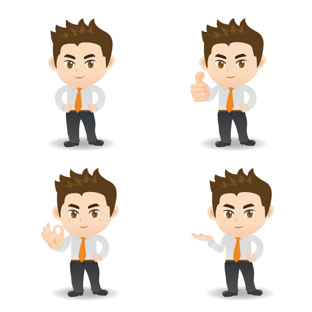 introduce: cartoon illustration set of Business man in different poses. manager. Illustration