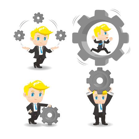 ingeniero caricatura: ilustración de dibujos animados conjunto de engranajes del hombre de negocios espera