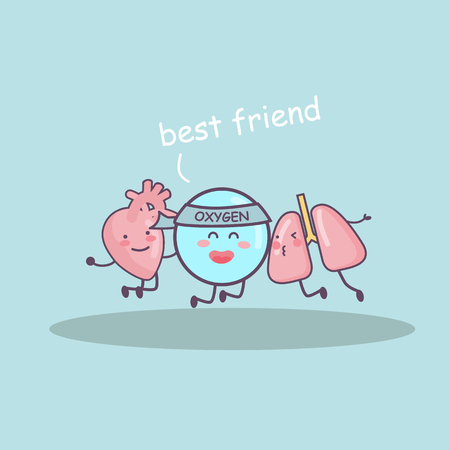 Best friend by lung, heart and oxygen, great for health care concept
