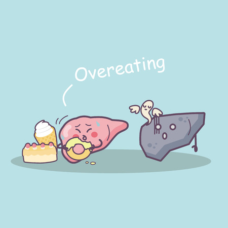 overeat: overeat damage liver, great for health care concept