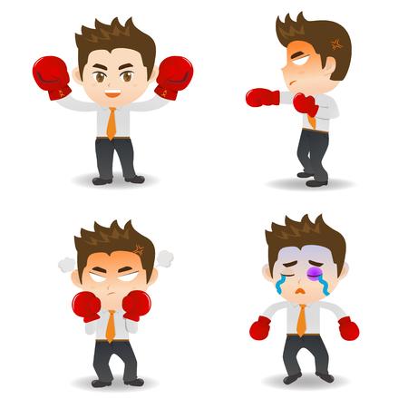 cartoon illustration set of Business man boxing