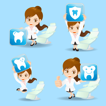 cartoon set of doctor dentist woman show dental care icon in different poses.