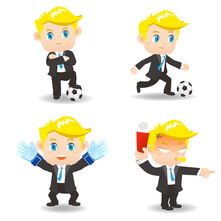 business game: cartoon illustration set of Business man competitive, soccer game