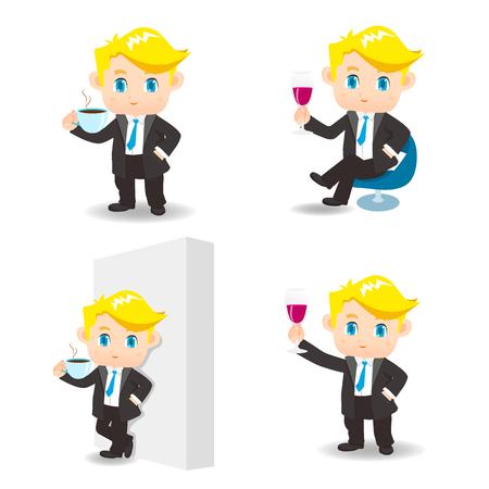 Ilustración de dibujos animados conjunto de hombre de negocios el consumo de café, vino tinto Foto de archivo - 69288803