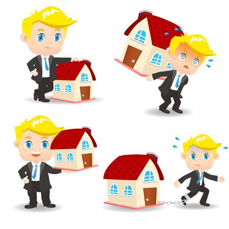 cute house: cartoon illustration set of Business man home loan, property