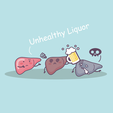 Unhealthy Liquor drunk and liver, great for health care concept Illustration