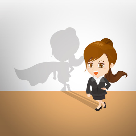 cartoon illustration set of Business woman with superwoman shadow on the wall