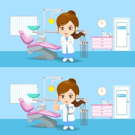 cartoon set of doctor dentist woman in dental office