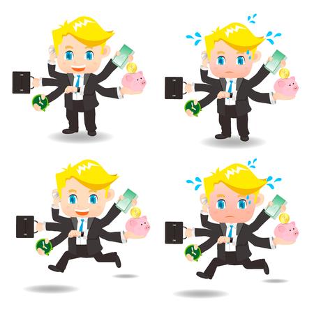 awkward: cartoon illustration set of Business man busy, business, money