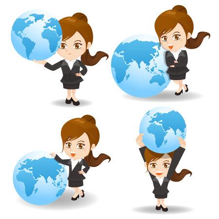 cartoon illustration set of Businesswoman with global, international, world