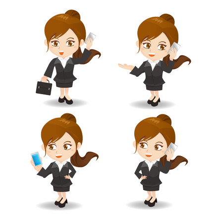 woman cellphone: cartoon illustration set of business woman with suitcase and smartphone Illustration