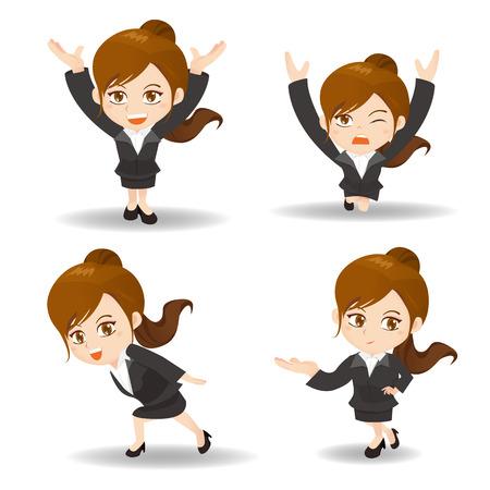 successful student: cartoon illustration set of Success Business woman lift something Illustration