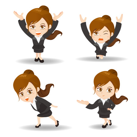 cartoon illustration set of Success Business woman lift something Illustration
