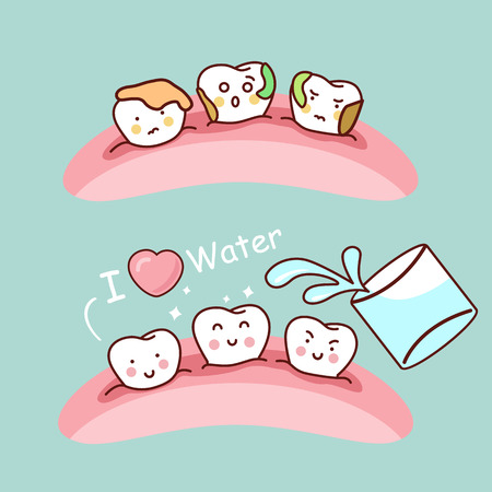 tonsillitis: Water or gargle with cute cartoon tooth, great for health dental care concept Illustration