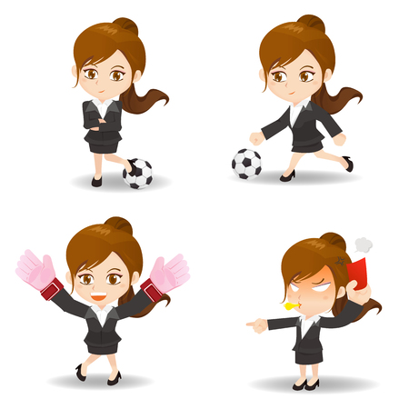 business game: cartoon illustration set of Business woman competitive, soccer game Illustration