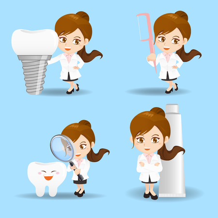 trainee: cartoon set of doctor dentist woman in different poses.