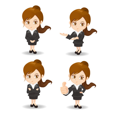 cartoon set of Business woman in different poses. 向量圖像