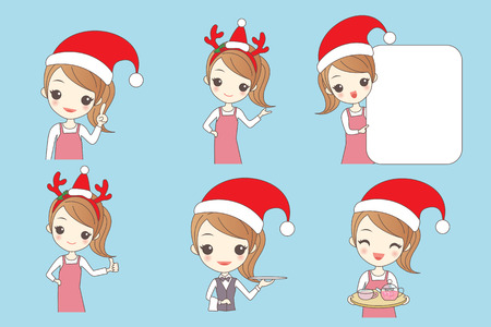 introduce: christmas cartoon beautiful young woman is a waitress Illustration