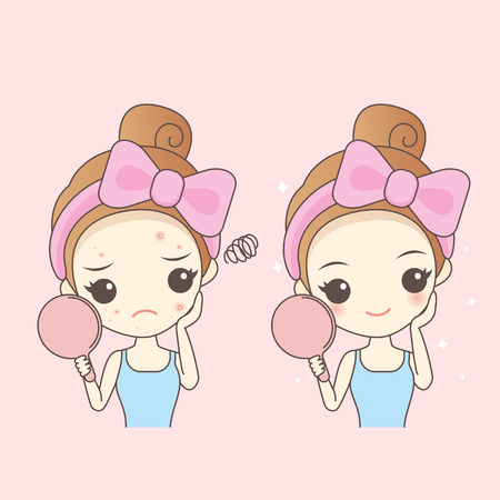 make: cartoon skin care woman with acne and take mirror check it, beauty