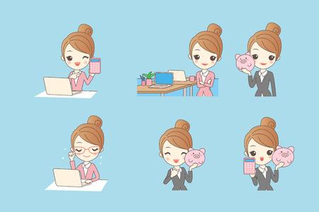 Cartoon Business-Frau mit Computer und Sparschwein Standard-Bild - 69378570