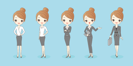 cartoon businesswoman wear different clothes ,great for your design