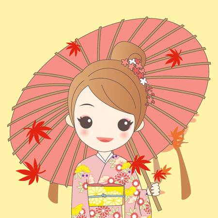 japanese girl is wear kimono and take Japanese paper umbrella with maple in autumn