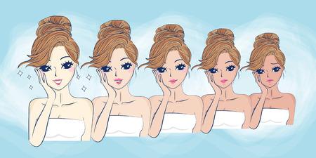 pustule: cartoon girls face whitening, great for your design Illustration