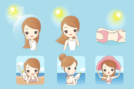 cartoon beautiful woman with sunshine and blue sky, concept for skin care and sun block, asian beauty