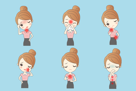 cartoon woman has sick, great for healthy concept Illustration