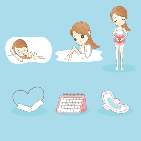 cartoon young woman is suffering menstrual pains Çizim