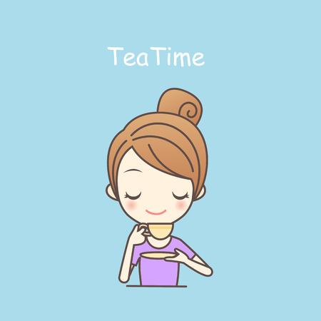 attractive girl: cartoon girl drink tea elegance in tea time,lifestyle, beauty