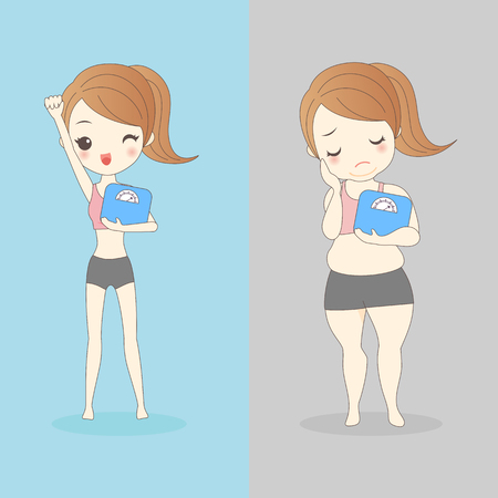 slim woman: slim woman and fat woman take body weight Illustration