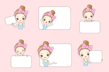 cartoon woman smile and show white billboard to you Ilustrace