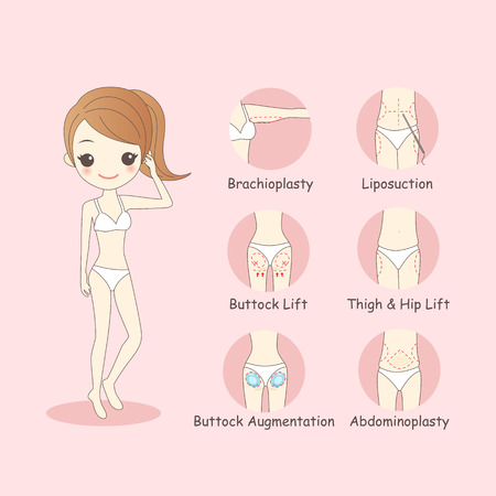 augmentation: cartoon woman body plastic surgery, great for your design
