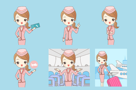 cartoon flight attendant smile to you, great for your design