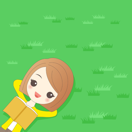 cartoon woman relaxing on the grass and smile happily