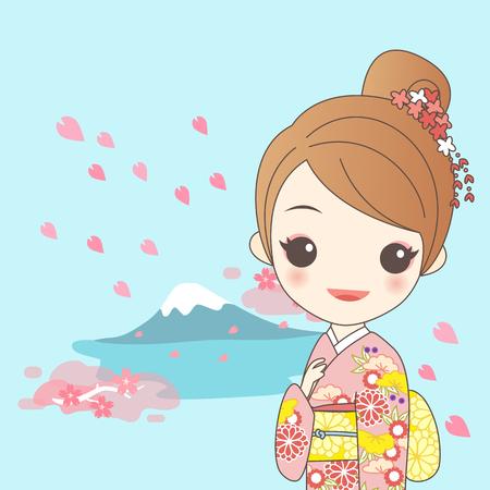 japanese girl is wear kimono with cherry blossom or sakura and fujisan Illustration