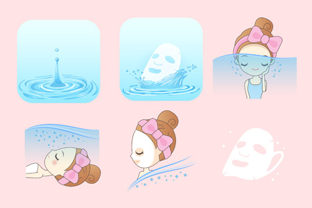 Beauty Skin care concept, Beautiful woman face with Water splashes Illustration