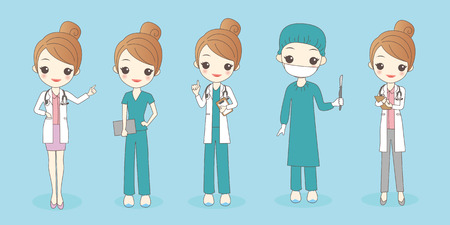 cartoon woman doctor wear different clothes , great for your design
