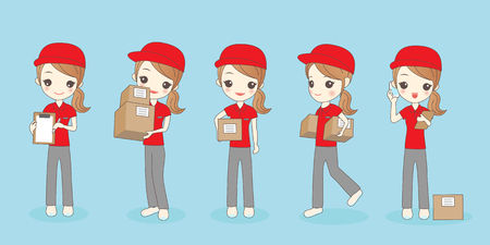 woman cellphone: cartoon deliverywoman smile,great for your concept