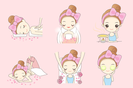 head massage: Cartoon beautiful young woman enjoy massage at spa with roses, beauty Illustration