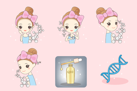 wrinkle: cartoon girl cleaning and care face, Healthy Lifestyle Concept