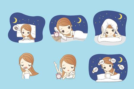 femme de bande dessinée est l'insomnie sur le lit
