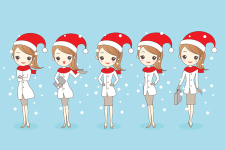 christmas cartoon business woman, great for your design