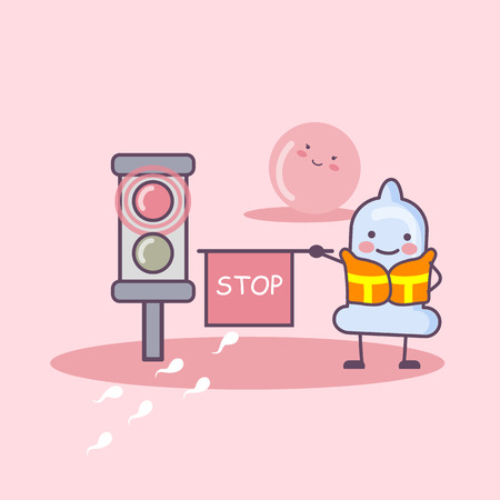 sex traffic: condom cartoon with red traffic light and protect ovum, safe sex andcontraception concept